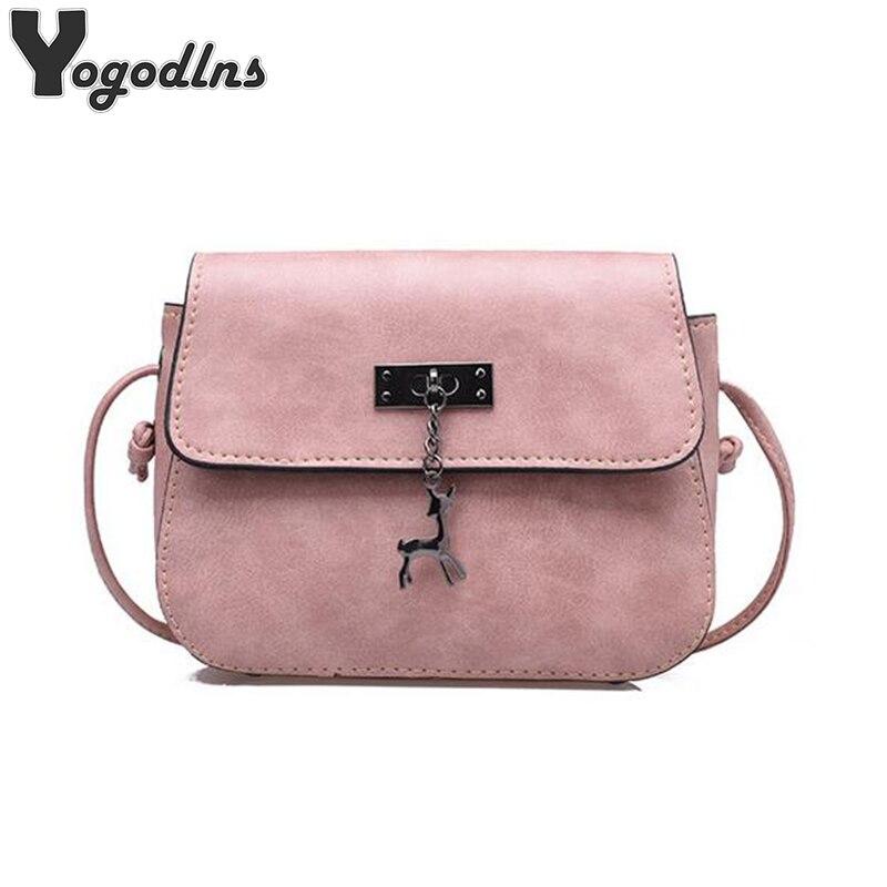 2019 New Arrival Women Leather Shoulder Bag Deer Decor Crossbody Bag Female Handbags Girl Messenger Bags High Quality