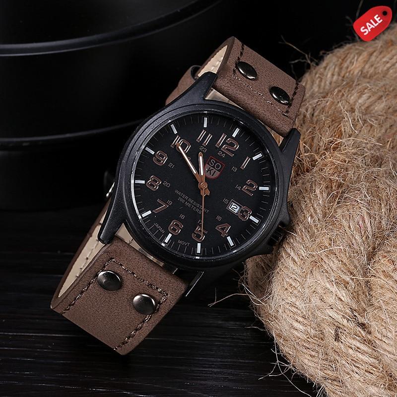 Vintage Classic Men's Waterproof Date Leather Strap Sport Quartz Army Watch Men's watch Wrist Party decoration Business Watch gi