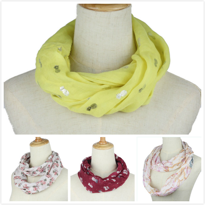 Floral Loop Scarf Women Fashion Flower Dot Printed Snood Ring Scarves Ladies Twill Viscose Infinity Scarfs 2019 New