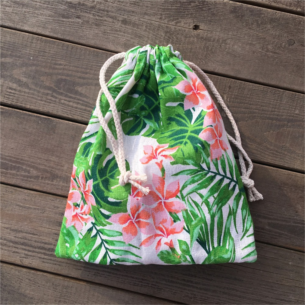 YILE 1pc Cotton Linen Drawstring Pouch Party Gift Bag Print Green Leaf Pink Flower YL812b