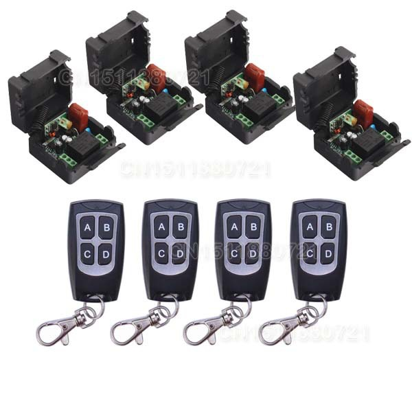 220V 1CH Wireless Mini Switch System 4 Receiver&4Transmitter Remote Controller 10A Output State Is Adjusted