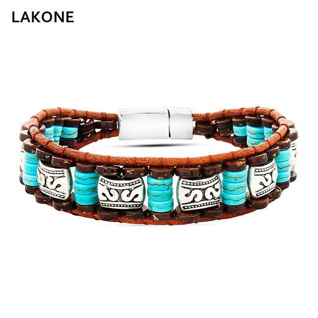 Beaded Bracelet Turquoises Brown Leather Wrap Bracelets Native American Style Men S Boho Wood Beads Mix Magnetic