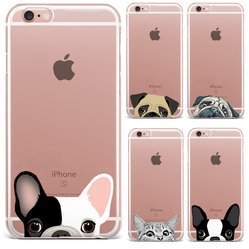 cute cartoon animal cat dog bulldog phone case for iphone 7 7plus 6 6s 5 5s crystal clear soft. Black Bedroom Furniture Sets. Home Design Ideas