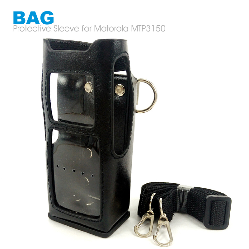 Hard Leather Case Cover Bag Holder for Motorola Walkie Talkie MTP850 Black