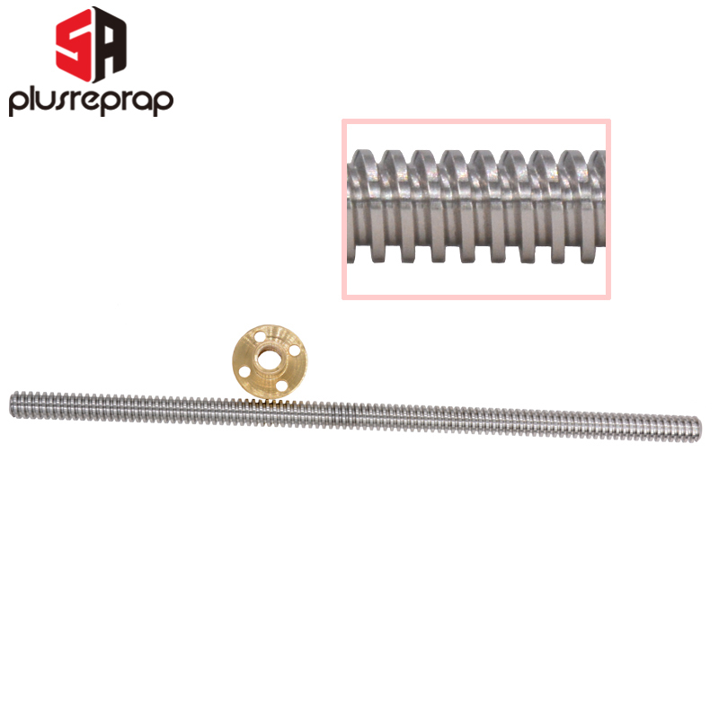 2mm Pitch 8mm Lead Stainless Steel Lead for 3D Printer Z Axis Lead Screw CHUANGNENG T8 Tr8x8 Lead Screw 350mm and Brass Nut Acme Thread
