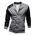 2017 New Fashion Men Casual Fleece Baseball Jacket Varsity Coat Jackets PU Leather Sleeve Patchwork Coats Manteau Homme 13M0177