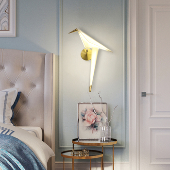 Nordic aisle bedside wall lighting for home Creative design wall decoration lamp Paper crane  Sconce  Bird LED wall light 5