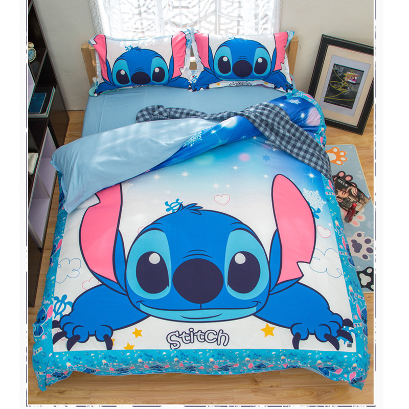 Cartoo lilo and stitch bedding set 3 pcs single double twin full queen king size cartoon girls bed cover pillow cases room decor
