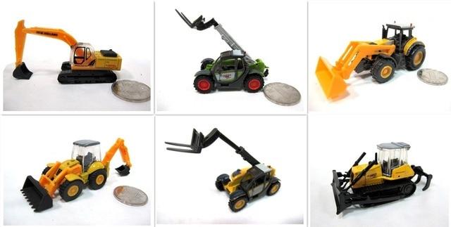6 Pcs/lot 1/87 Model Kereta Skala Ho Miniatur Paduan Truk Truk Konstruksi Excavator Loader Forklift Set Gratis Pengiriman