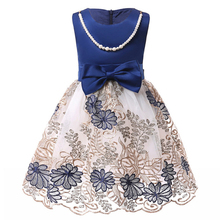 лучшая цена Baby Girl Elegant Flower Party Dress  Wedding Dress Kids Costume Girls Princess Dress Children Clothing 3 5 7 9 10 Year Old