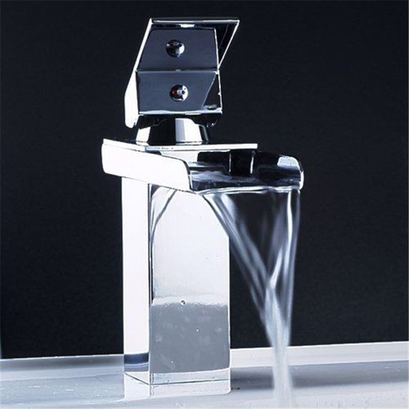 Free Shipping Wholesale And Retail Chrome Brass Waterfall Bathroom Faucet Bathroom Basin Mixer Tap with Hot and Cold Water becola chrome waterfall bathroom faucet brass hot and cold water faucet free shipping lt 601
