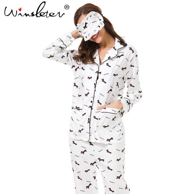 New 2019 Pajama Sets Women Dachshund Print 3 Pieces Set Long Sleeve Top + Pants Elastic Waist + Blinder Loose Homewear S74407