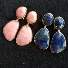5Pairs Nature Stone Dangle Earrings with Gold Frame Women Fashion Jewelry Boucle d Oreille Woman Earings Bohho Long Earring