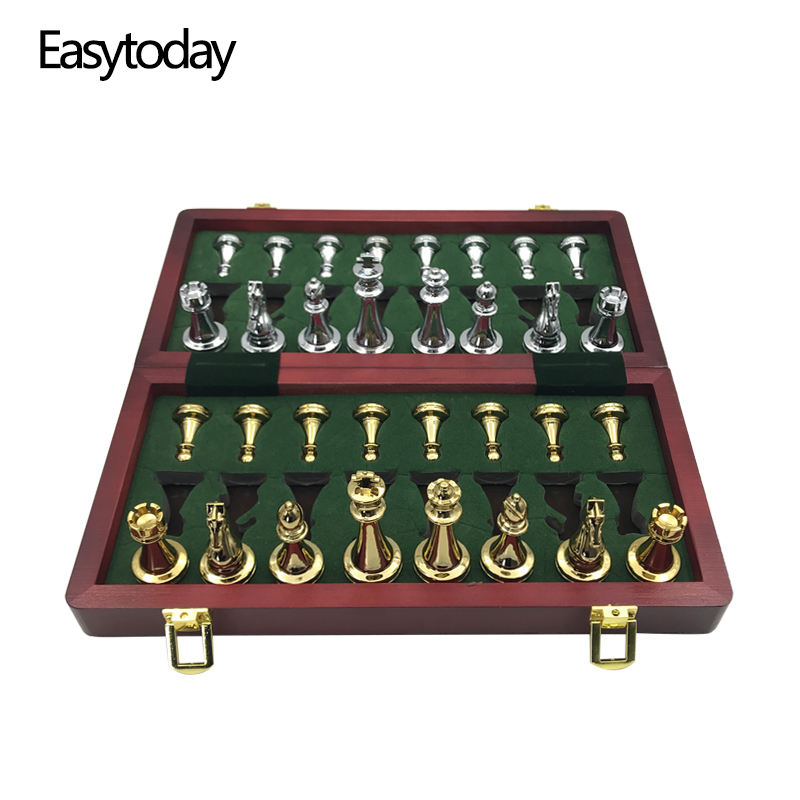 Easytoday Metal Glossy Golden And Silver Chess Pieces Solid Wooden Folding Chess Board High Grade Professional Chess Games Set