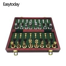 Easytoday jeu déchecs professionnel, pièces brillantes, en métal doré et argenté, échiquier pliant en bois massif de haute qualité