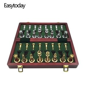 Image 1 - Easytoday jeu déchecs professionnel, pièces brillantes, en métal doré et argenté, échiquier pliant en bois massif de haute qualité