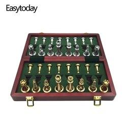 Easytoday, piezas de ajedrez metálicas brillantes doradas y plateadas, tablero de ajedrez plegable de madera sólida, juego de juegos de ajedrez profesional de alto grado