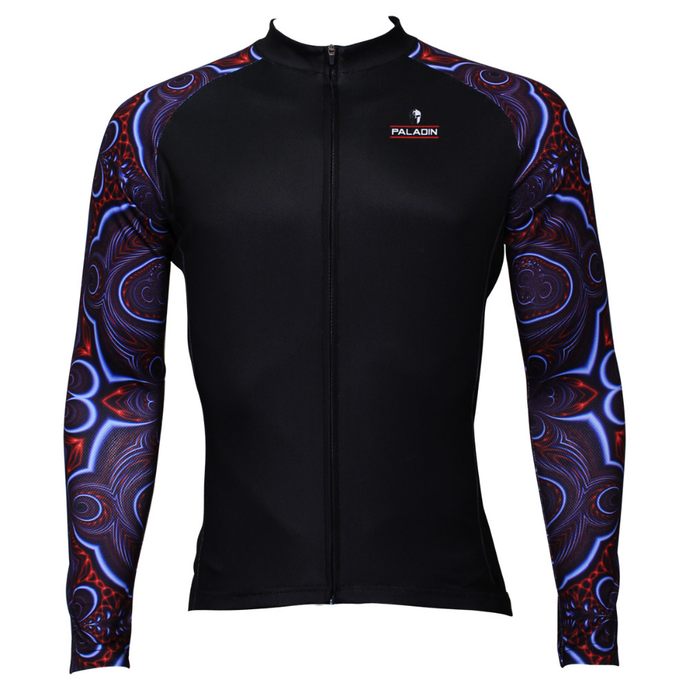 New Purple Kaleidoscope Pattern Men Long Sleeve Cycling Jersey Polyester Ropa Ciclismo Breathable Cycling Top Free