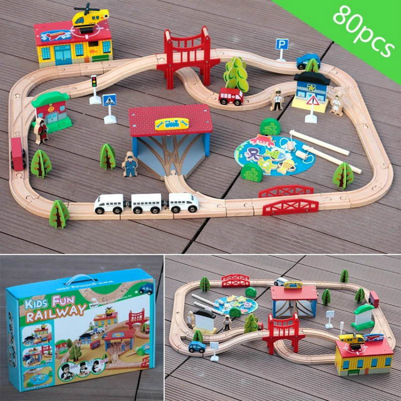 80pcs Magnetic Wooden Train Track Electric Train Fishing Wooden Scene Round Curved Track Puzzle Manual Assembly Children Fun Toy80pcs Magnetic Wooden Train Track Electric Train Fishing Wooden Scene Round Curved Track Puzzle Manual Assembly Children Fun Toy