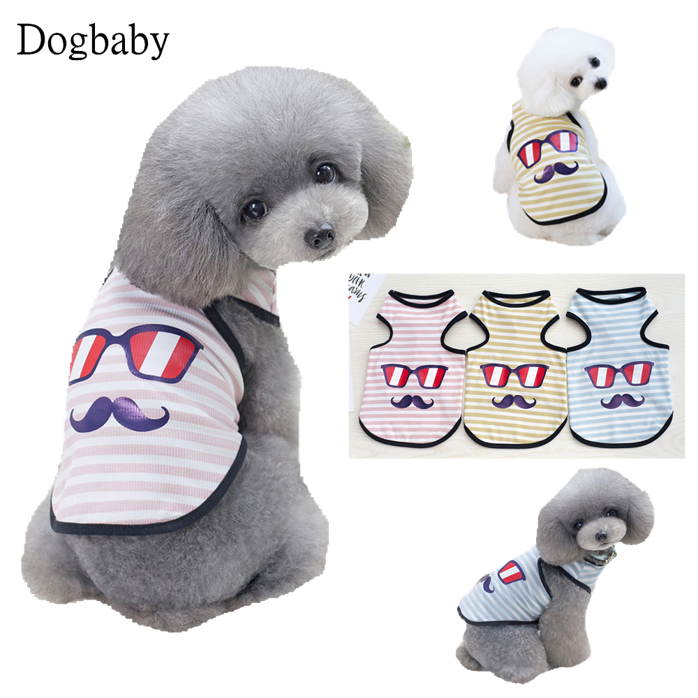 K19 Cute Spring Summer Pet Dog Vest Clothes Stripe Glasses Pattern Puppy dog Cats Breathable Vest costume Apparel for Teddy