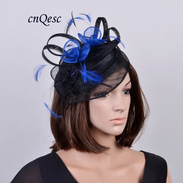 48c2e3e9d5c33 One off design.new black royal feather sinamay fascinator hat for races wedding  kentucky