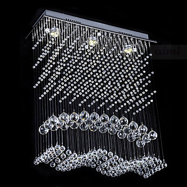 Free Shipping Modern Crystal Ceiling Light 3 Lamp with Warm Yellow Light Source