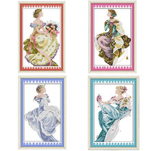 4 Season Summer Queen Beautiful Girls Counted Cross Stitch Kits Printed On Canvas DMC 14CT 11CT Cross-stitch DIY Embroidery Sets(China)