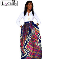 2016 Fashion Summer Autumn High Waist Colorful Floral African Print Navy Maxi Skirt LC65008 Sexy Women