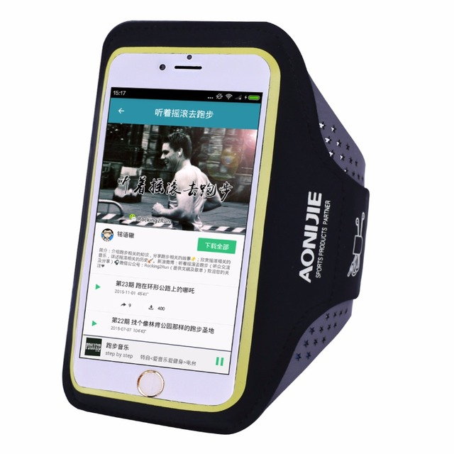 AONIJIE Men Women Running Arm Pack Outdoor Sport Hiking Camping Gym Fitness 5.5 4.7 Inch Touch Screen iPhone 6S Mobile Phone Bag