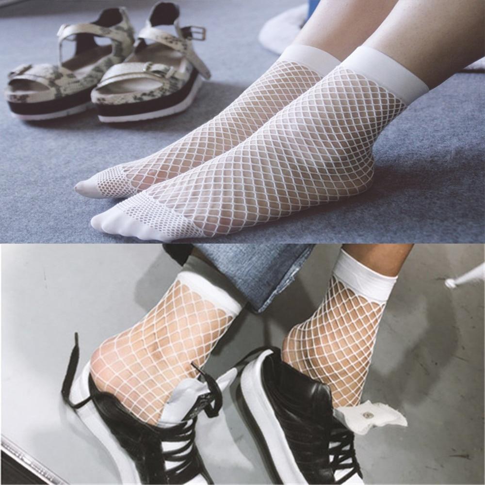 Wanita Jala Putih Ankle Socks Lady Sexy Mesh Lace Fish Net Kaus Kaki Kaos  Bagus Wf899