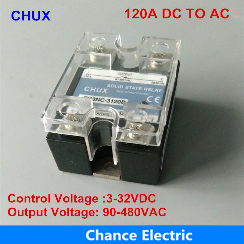 Solid State Relay 120a 3-32VDC Single Phase 90-480VAC DC To AC SSR 120DA 220v dc ac single phase ssr solid state relay 120a 3 32v dc 24 480v ac