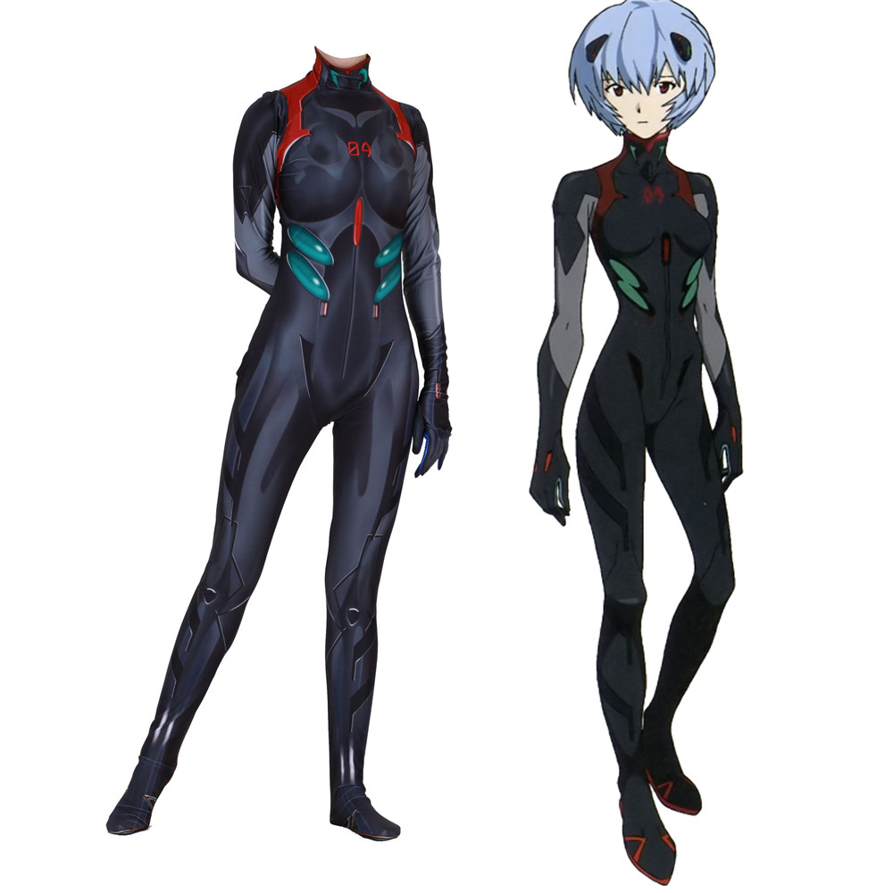 Free Shipping 3D Printed Black Rei Ayanami Neon Genesis Evangelion Cosplay Costume EVA Nagisa Kaworu Zentai Bodysuit