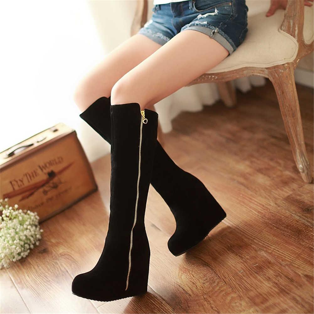 KARINLUNA ใหม่สุภาพสตรี Wedges รองเท้าส้นสูงซิปรอบ Toe Platform รองเท้าผู้หญิงสบายๆฤดูหนาวเข่า-รองเท้าบูทสูงขนาดใหญ่ 32-43