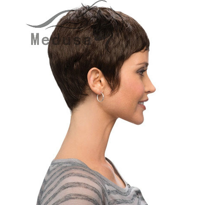 Celebrity lady wigs  Sleek Afro boy cut Short pixie wigs for black women  brown Synthetic african american wig with bangs SW0088 on Aliexpress.com  62a1bee021