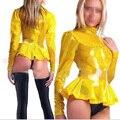 Каучуковый Латекс Блузка Женщины Фетиш Рубашки Костюмы с Задней Молнией LSW013