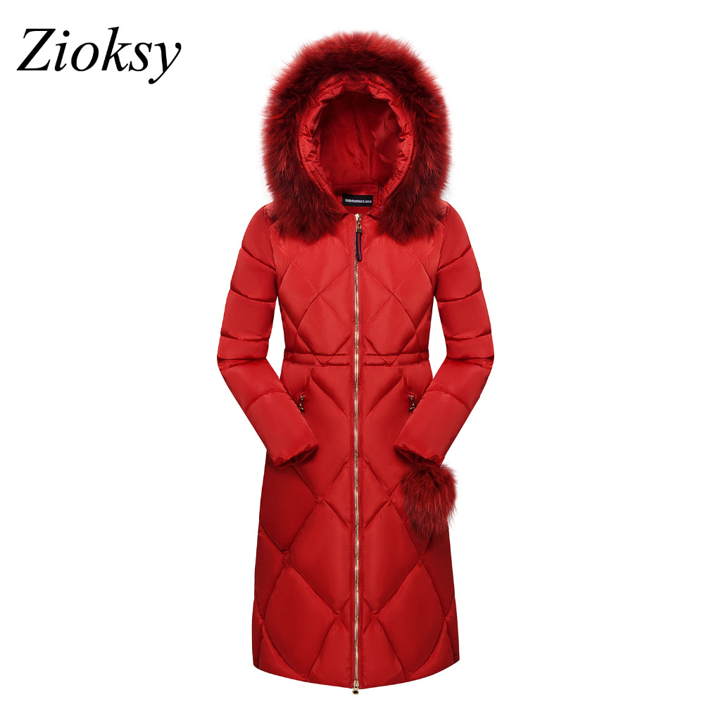 Zioksy 2017 New Winter Jacket Women Warm Hooded Fur Collar Thick Long Coat Woman Parkas Female Cotton Coat Overcoat Plus Size women winter coat jacket thick warm woman parkas medium long female overcoat fur collar hooded cotton padded coats