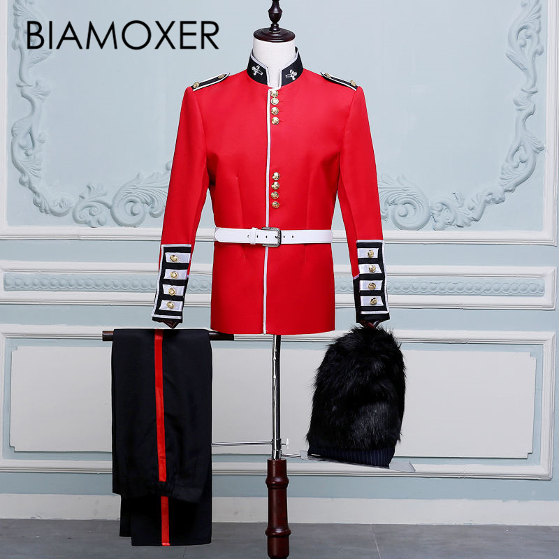 Baimoxer Red Renaissance Medieval Men British Royal Guard Soldiers Performing Band Costume