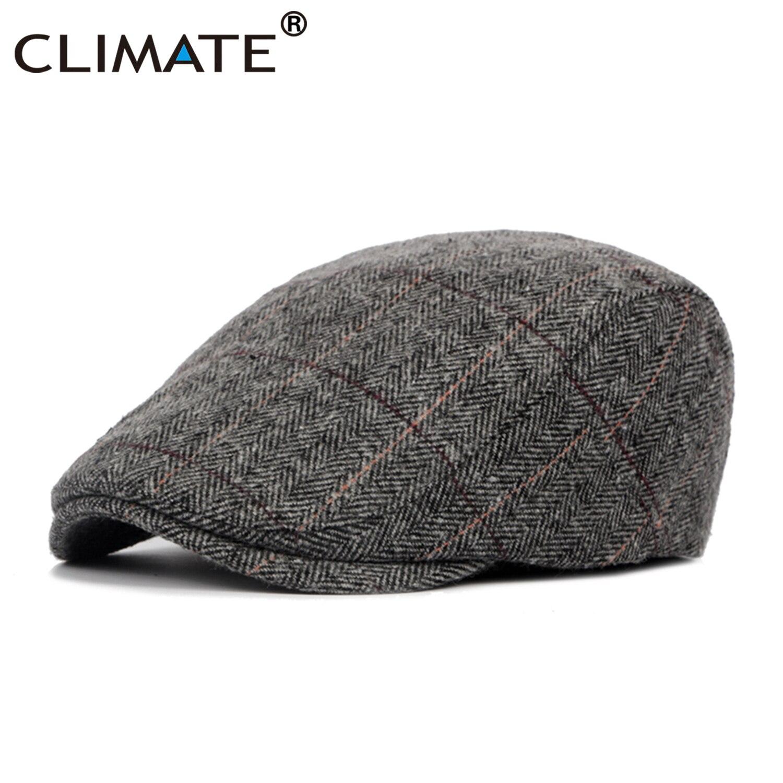 CLIMATE Men Plaid Berets Warm Flat Cap Men Vintage Winter Hat Berets for Men Casual British Gentleman Beret Flat Caps Beret Hat