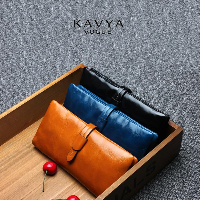 ¡¡VENTA!! ENVÍO GRATIS 100% de la primera capa de cuero genuino de la cartera de la sección larga del monedero de la manera del bolso de embrague de moda