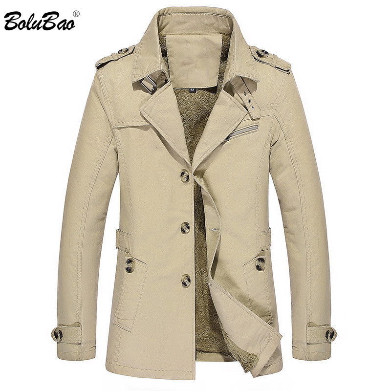 BOLUBAO Fashion Brand Men Trench Coats New Mens Warm Thick Solid Color Trench Jackets Male Casual Comfortable Trench Jacket