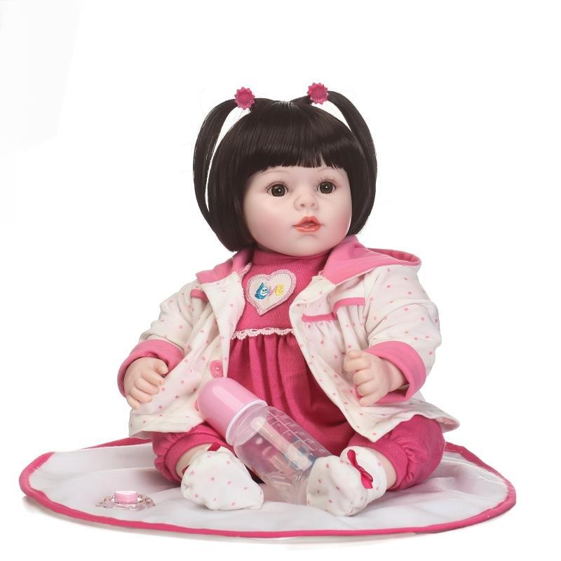 Boneca Reborn 22 pouces Silicone souple vinyle poupées 45 cm Silicone souple Reborn bébé poupée belle réaliste gros yeux poupées cadeau de noël