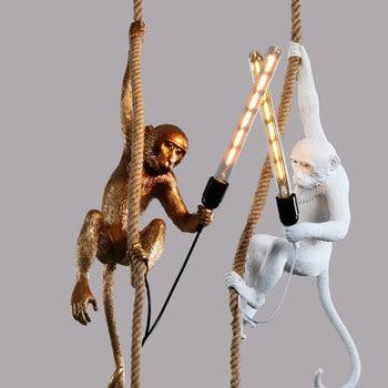 Modern Golden White Resin Monkey Pendant Lamp Suspension luminaire Loft Hemp Rope Pendant Light for Home Lighting