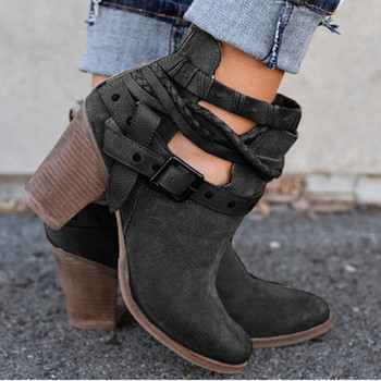 Ankle Boots Suede Leather Casual High Heels Fashion Square Rubber Khaki Buckle Strap Shoes For Women Summer Boots Size 34-43 2