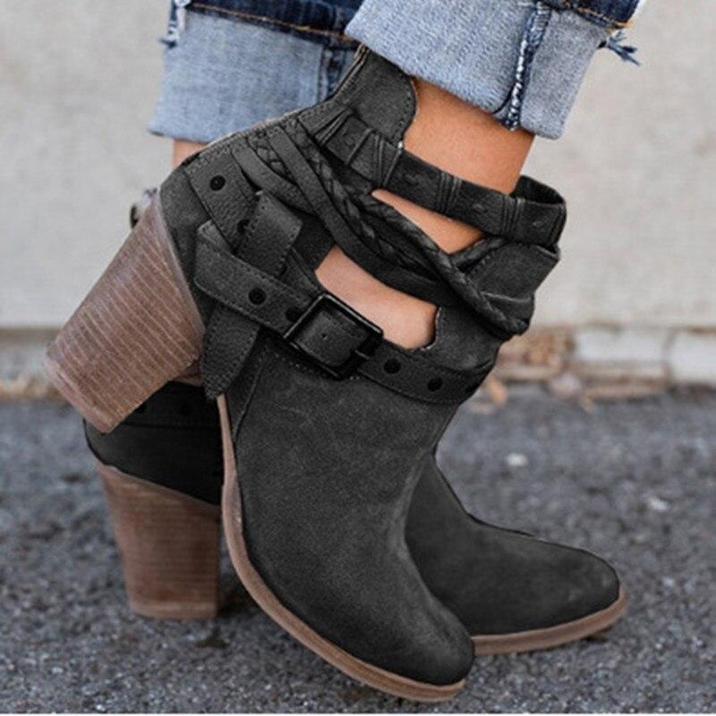 Best 4U® Mujer Zapatos Semicuero Otoño Invierno Botas de Moda Botas de Combate Botas Tacón Robusto Dedo cuadrada Botines Hasta el Tobillo Hebilla