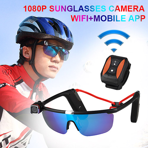 New Design 1080P Sunglasses Camera Wifi+Mobile APP Motion Bandage Sweat Proof Cooling Technology Design CL37-0010