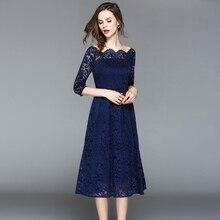 Vestido de fiesta de encaje azul sólido para mujer medio espalda descubierta elegante vestido de línea a ahuecado señoras de encaje medio vestido