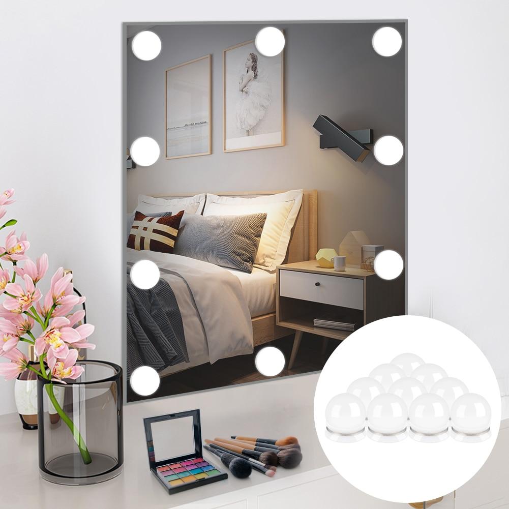10 lâmpadas LED espelho de luz da vaidade compõem luzes hollywood style Touch USB nível 10 3 cor Dimmable lâmpada penteadeira mesa de maquiagem
