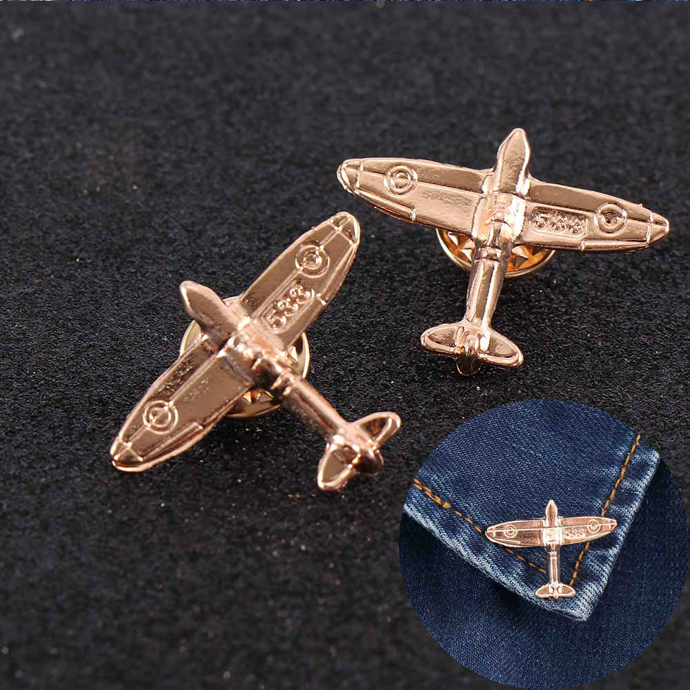 2pcs Retro Pilot Airplane Brooch Trendy Mini Airplane Metal Pins On backpack Lapel Pins Clothes Decor Badge For Men Women Kids image