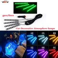 Top (4 stks) set lijnen LED Auto-interieur sfeerverlichting Auto Omgevingslicht Koud Licht Dashboard Console auto sfeer lampen