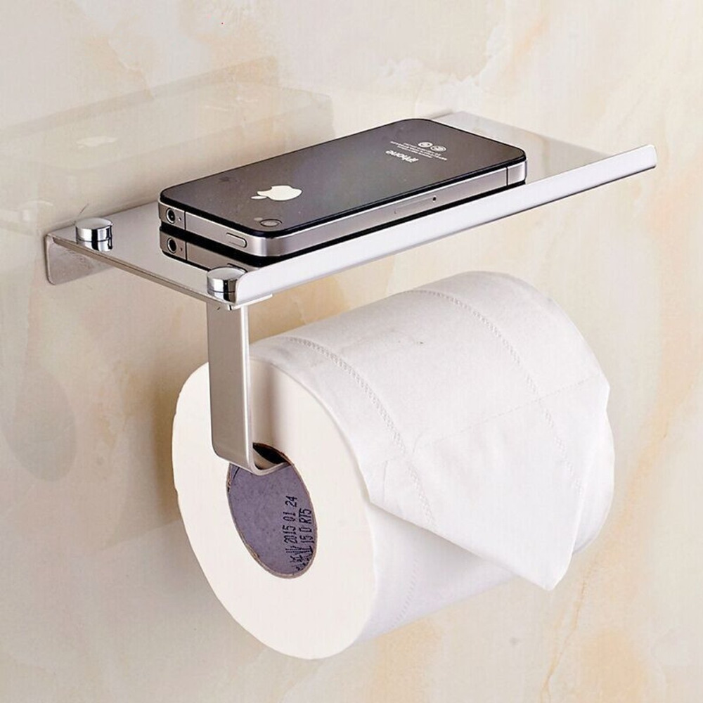 Wall Mount Toilet Paper Holder SUS304 Stainless Steel Bathroom Tissue Holder with Mobile Phone Storage Shelf high quality stainless steel sus304 hook style satin kitchen bathroom bar style suction cup rolling tissue toilet paper holder